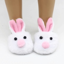 White Bunny Slippers New Born Baby Doll Shoes for 18