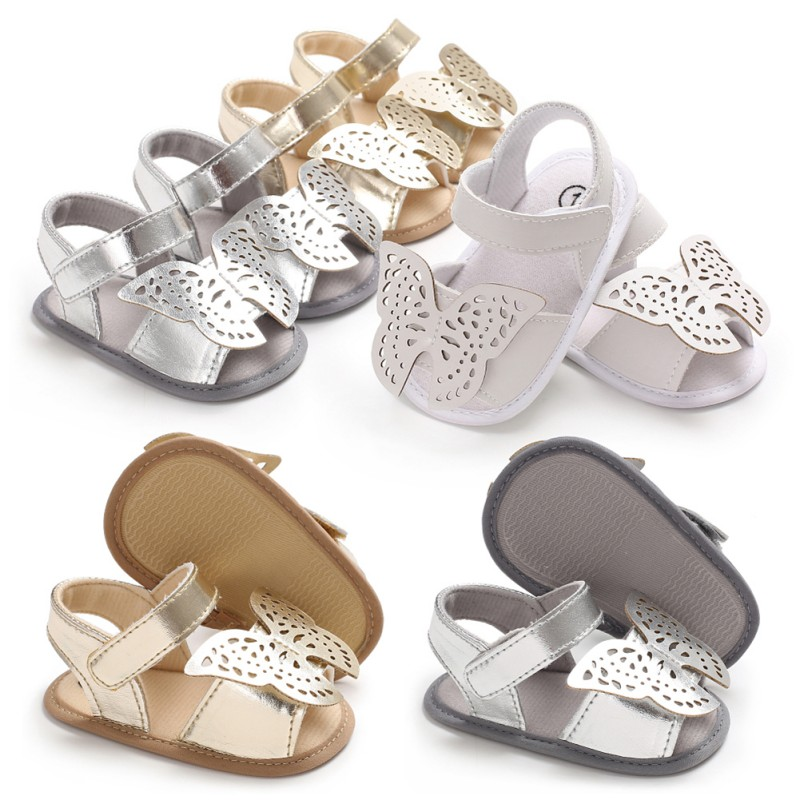 Butterfly Baby Sandals Solid PU Leather Baby Girls Boys Sandals Nonslip Soft Soled Infant Toddler Sandals Y13