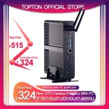 TOPTON 2 * DDR4 M.2 Nuc Fanless דקות מחשב Intel Core i7 10710U/10510U i7 8565U/7560U i5 8 * USB + Msata + 2.5 4K HTPC Nettop HDMI DP WIFI