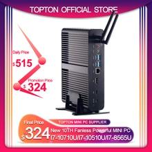 كمبيوتر صغير بدون مروحة من TOPTON 2 * DDR4 M.2 Nuc بمعالج Intel Core i7 10710U/10510U i7 8565U/7560U i5 8 * USB + Msata + 2.5 بوصة 4K HTPC شبكة HDMI DP WIFI