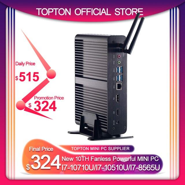 Topton 2 * DDR4 M.2 Nuc Fanless Min Pc Intel Core I7 10710U/10510U I7 8565U/7560U I5 8 * Usb + Msata + 2.5 4K Htpc Nettop Hdmi Dp Wifi