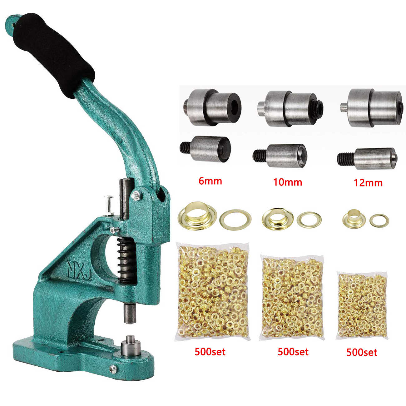 Grommet Eyelet Machine Tangan Tekan Seni Kerajinan Jahit dengan 3 Dies + 1500Pcs Grommet 6/10/12mm DIY Manual Snap Lubang Alat Press