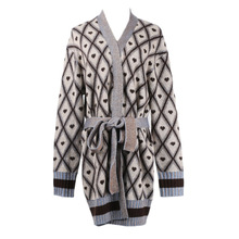 Shuchan Long Sweater Korean Heart V-Neck High Street Fashion Designer Cardigan Women Warm Knitted for