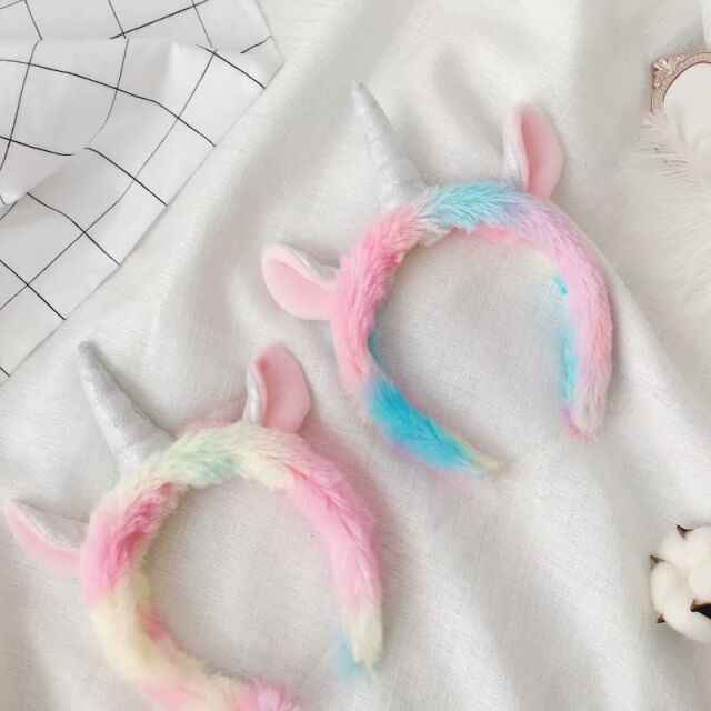 Holiday Soft Rainbow Color Unicorn Hair Hoop Party DIY Plush Unicorn Hair Band Stuffed Animal Unicorn Headband Plush Decorations