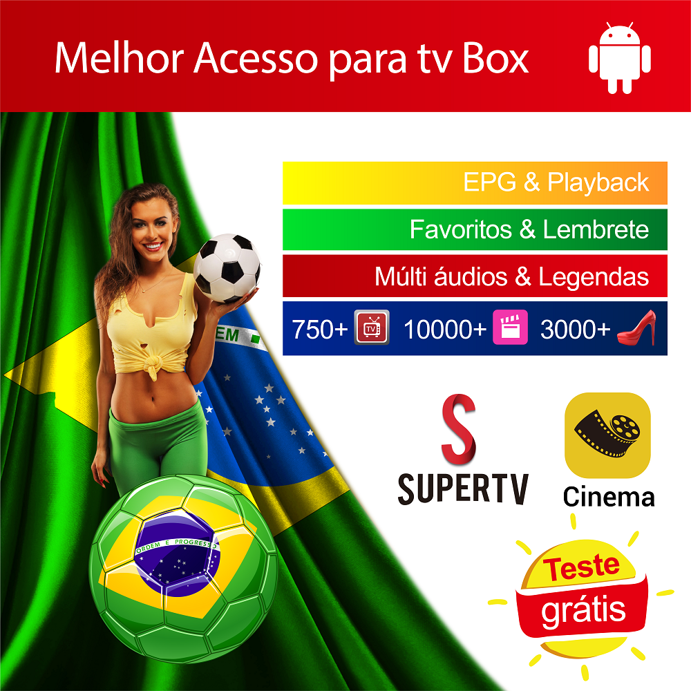 Brasilien Supertv Kino Apk Melhor Brasil Acesso para Android TV Box EPG Wiedergabe FAV-FUNKTION 4K HD Familie Video Heißer club Heißer Verkauf