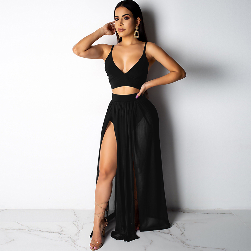 Fashion Women Two Pieces Set Spaghetti Strap Deep V Neck Backless Crop Tops High Waist Sheer Skirts Matching Set Summer Clubwear