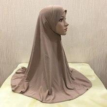 H062 adultos tamanho médio 70*70cm plain pray hijab muçulmano hijab lenço de cabeça islâmico chapéu armia puxar no headwrap