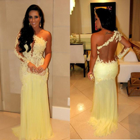 2020 Modest Design One Shoulder Sheer Back Trumpet Pleats Flower Yellow Lace And Chiffon Connected Customize Prom Dresses