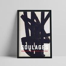 Affiche d'exposition Pierre Soulages, peinture noire amorphe de France, tableau mural minimaliste abstrait, Art mural Vintage
