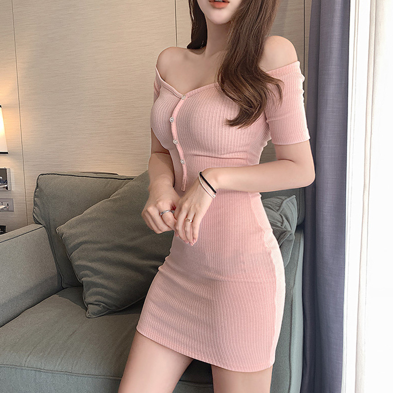 2020 summer new product sexy temperament word collar single-breasted stretch knitted nightclub bag hip dress