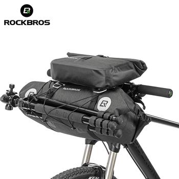 ROCKBROS rowerowa torba na rower 2 w 1 zestaw wodoodporna duża pojemność 20 L MTB Road kierownica przednia torba pokrowiec Pannier Bike akcesoria tanie i dobre opinie CN (pochodzenie) NYLON odporne na deszcz AS-015 AS-016 about 85*20*29 5cm about 30*6 5*31cm about 600g 300g high frequency welding