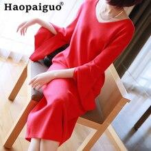 Женское трикотажное платье оверсайз черное свободное свитер