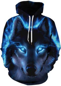 Men's Pullover Hoodie Galaxy Animal 3D Print Hooded Sweatshirts Unisex (Small - Medium, Blue Light Wolf-A) 3d galaxy tree print pullover hoodie