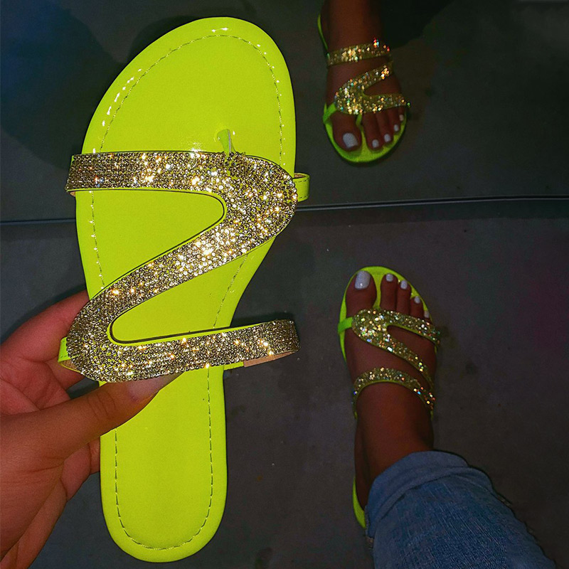 Women Summer Flat Bling Slippers Transparent Soft Jelly Shoes Female Flip Flops Sandals  Outdoor Beach Ladies Slides Plus Size 5