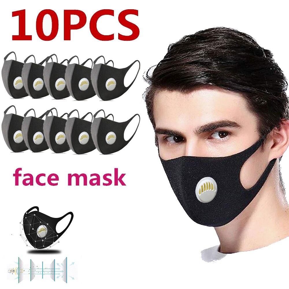 10pcs Washable Face Breathing Mask Cycling Anti Dust Environmental Mouth Mask Respirator Fashion Black Mask Vent Men Polyester