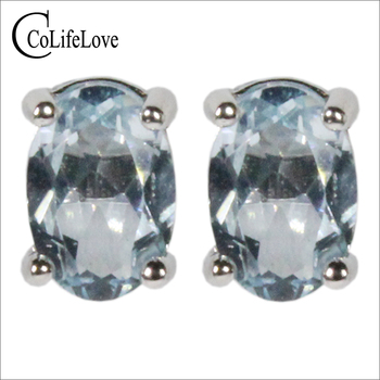 CoLife Jewelry VVS Grade Aquamarine Stud Earrings for Daily Wear 100% Natural Aquamarine Earrings 925 Silver Aquamarine Jewelry