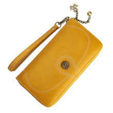 2019 popular style oil wax leather wallet womens large banknote clip new mobile phone bag long zipper handbag