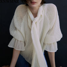 Xnwmnz za Осенняя блузка женская английская офисная мода элегантная