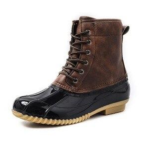 Image 2 - STS bayan botları bayan ördek çizme su geçirmez fermuar kauçuk taban kadın yağmur çizmeleri ayak bileği bağcığı ayakkabı kürk kış kadın ayakkabı