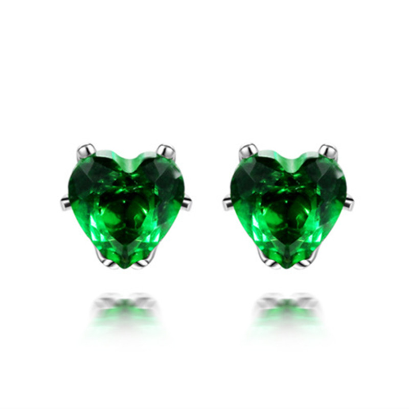 Ear-Studs Earringsfor Hypoallergenic Heart-Shaped Elegant Korean Cubic-Zirconia Gift