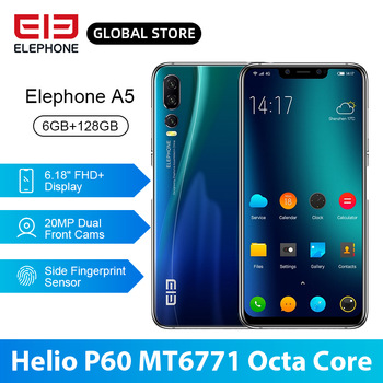 ELEPHONE A5 P60 MT6771 Octa Core Smartphone 6GB 128GB 6.18 Inch FHD+ U-Notch Screen 20MP Front Cam 4000mAh 4G Android 8.1 Mobile