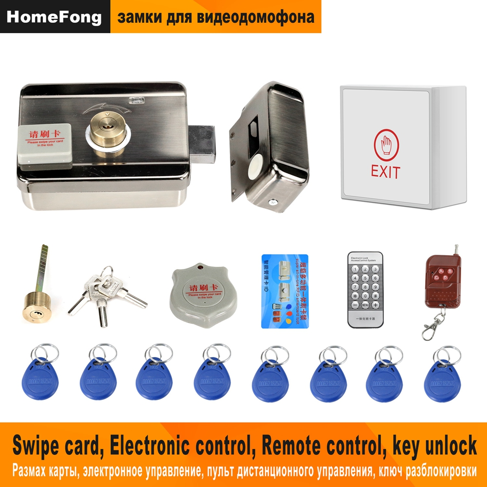 Homefong Electronic Door Lock For Video Intercom Video Door Phone Wired Remote Unlock  With Smart Card  Home Security System Kit