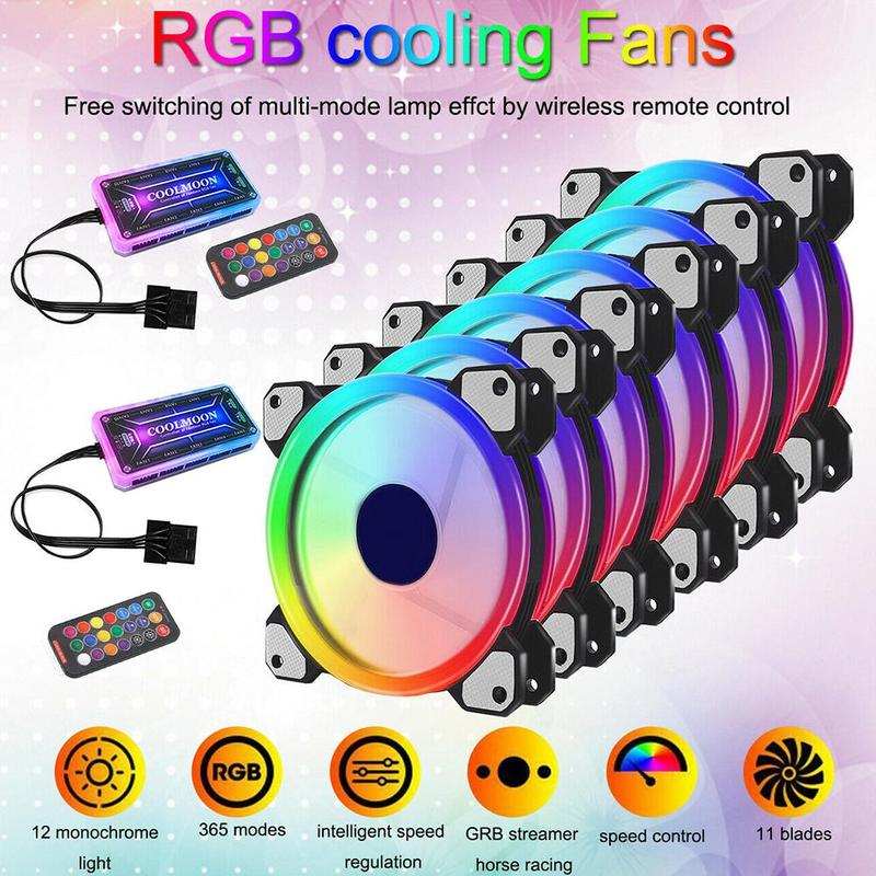 RGB Led Cooling Fan 12cm Cooler With Remote Controller Radiator Water Cooling PWM Quiet Fan For PC Computer Silent Gaming CPU