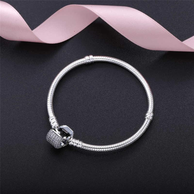 Ajuste pandora marca de luxo pulseira original contas mujer 2020 pulseira clara cz base cobra encantos feminino jóias fazendo pulsera