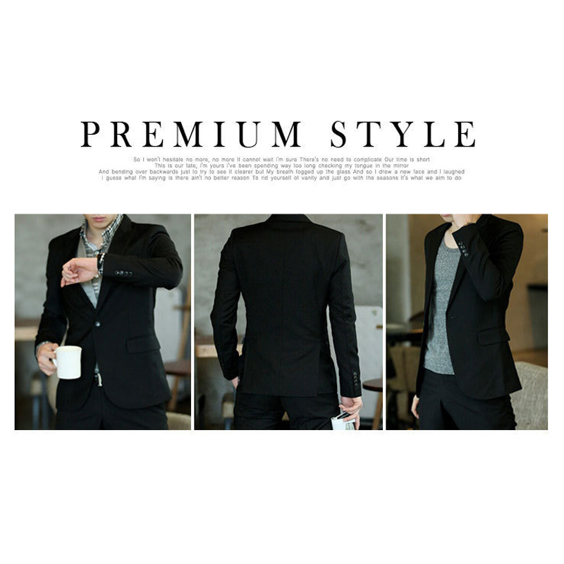 Hot 2019 Men's Blazer Slim Korean Style Black Casual Business Daily Blazers Male Simple Design Large Size Single Button Coat