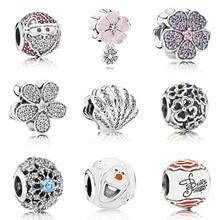 Original 925 Sterling Silver Bead Charm Santa Claus Pink Flower Shell Snowman For Women Diy Pandora Bracelet Necklace
