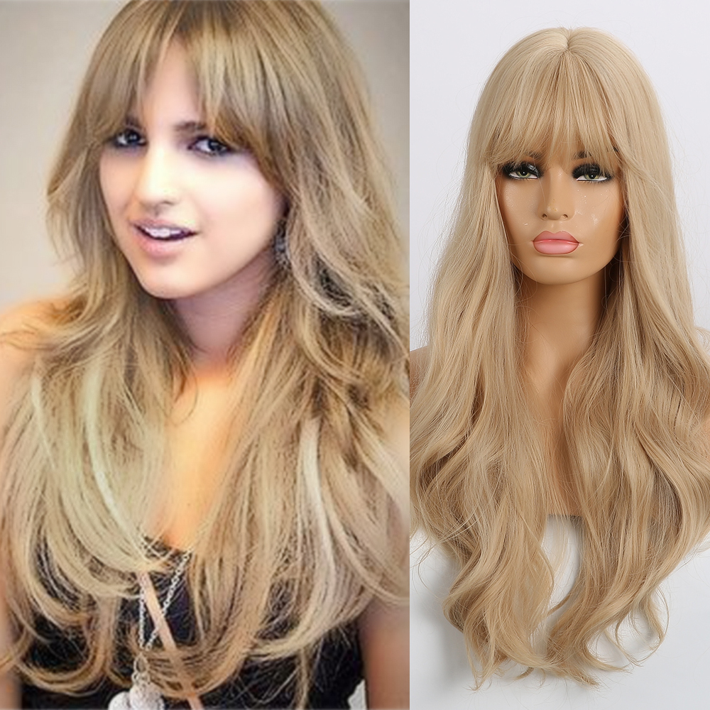 EASIHAIR Long Blonde Wavy Synthetic Wigs for Women Wigs with Bangs High Density Natural Cosplay Wigs Brown Ombre Heat ResistantSynthetic None-Lace  Wigs   -