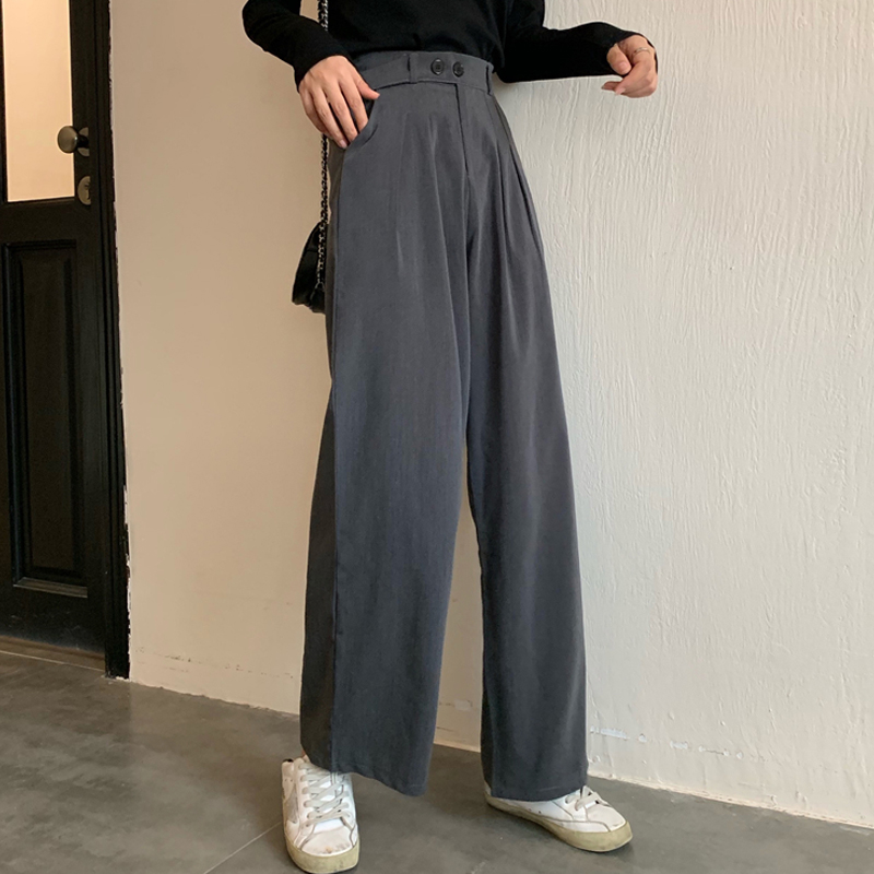 Women's High Waist Wide Leg Trousers Autumn New Korean Version Ins Thin Straight Pants Casual Wide Leg Pants Woman GD112