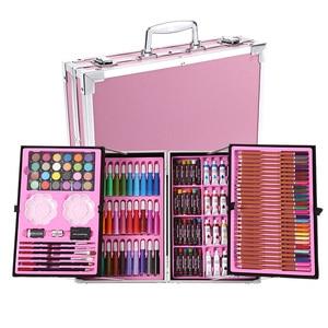 Image 3 - Portable Aluminum Alloy Suitcase Solid Watercolor Paint Oil Paints Water Color Pen Colored Pencil For Painting Gift Set Supplies