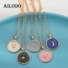 Ailodo lua estrela coração gota de óleo colar para as mulheres pingente redondo cor de ouro colar collier moda jóias 20dec56