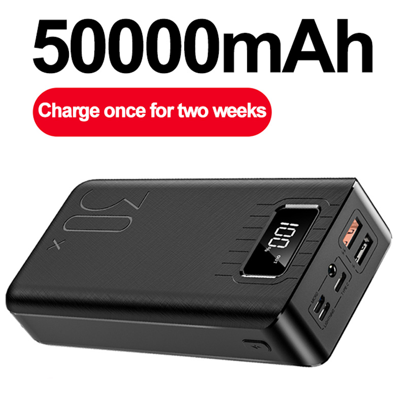 50000mAh Power Bank TypeC Micro USB QC Fast Charging Powerbank LED Display Portable External Battery Charger