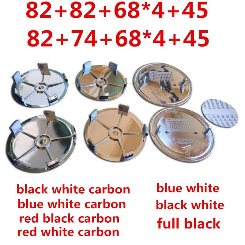 7pcs/set Carbon Fiber Front Hood Emblem 82mm+Rear Badge 74mm+Wheel Hub Cap 68mm+steering Wheel Sticker 45mm