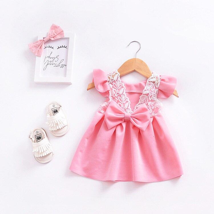 H24842a55054943b6af6cf02244fc10eew Girls Dress 2018 Summer Explosion Solid Color Denim Dress Cartoon Polka Dot Bow Cartoon Bunny Satchel Korean Baby Cute Dress