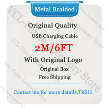 10pcs lot aaaaa quality aluminum mylar sync data cable 2m 6ft usb charging cable for foxconn phone with new packaging 10pcs High Quality 144 Metal Braided Double Sheild 2m/6ft Sync Data Cable USB Charge Cable for Foxconn Phone With New Packaging