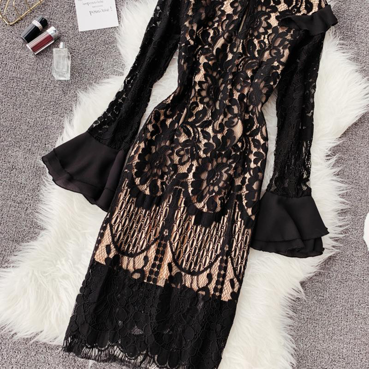 Vintage Bodycon Black Lace Dress 11