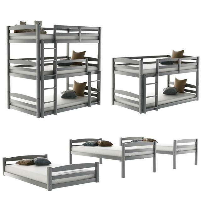 Triple Bed with Ladder  Bed Frame 4