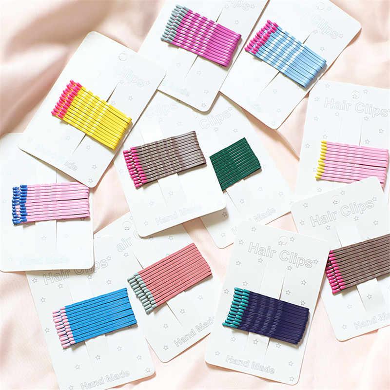12 ชิ้น/เซ็ตเกาหลีน่ารักตีสีโลหะคลิปผมสำหรับผู้หญิงตรงกันหัว Hairpin สีสัน Barrettes อุปกรณ์เสริมผมใหม่มาถึง