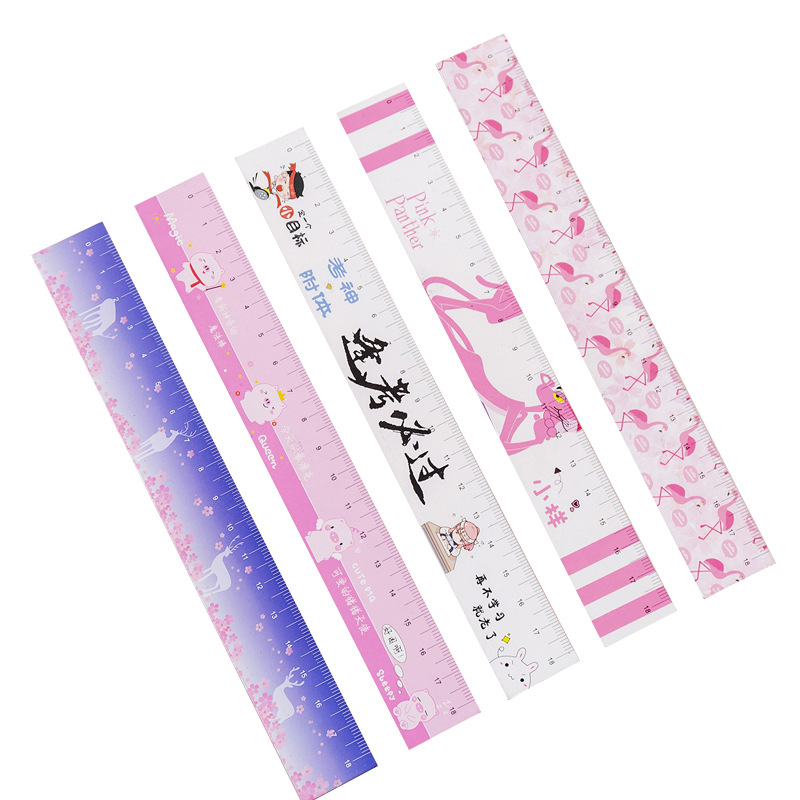 18CM Cute Animal Pink Panther Flamingo Unicorn Straight Rulers Soft Magnetic Ruler Bookmarks For Students School Office Supplies