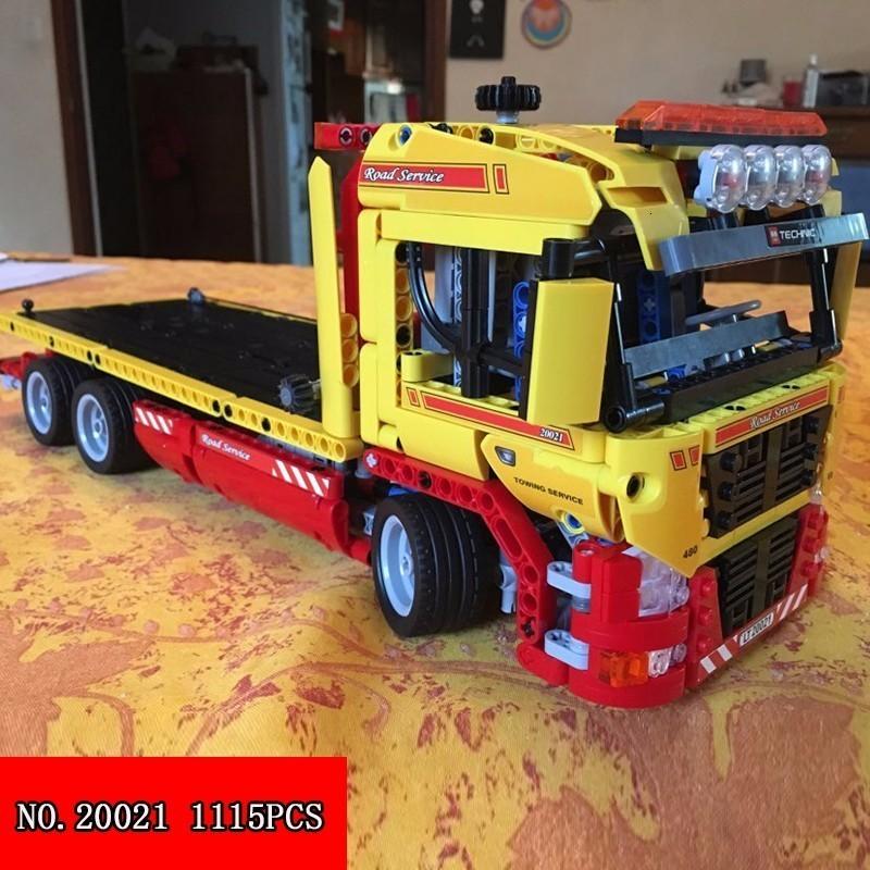 Compatible Genuine Technic 20021 1143pcs Flatbed Trailer Building Blocks Figure Bricks Toys For Children 38042