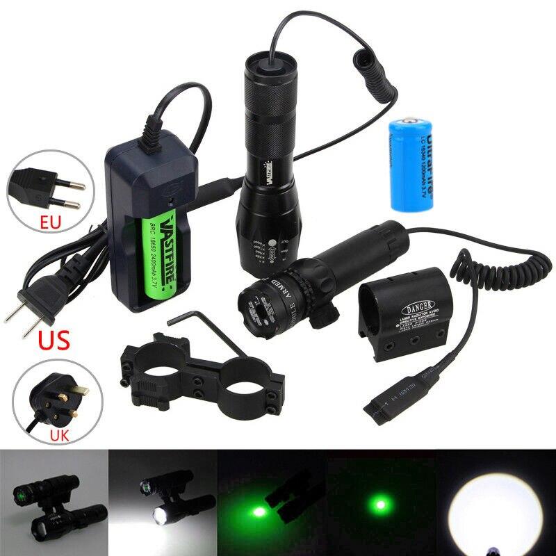 6000lm zoomable caca arma luz verde vermelho ponto mira laser trilho barril rifle escopo montagem interruptor