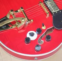 free shipping Top quality New F hole body Jazz red guitar with bigsby Hollow body Electric Guitar 8pai 335