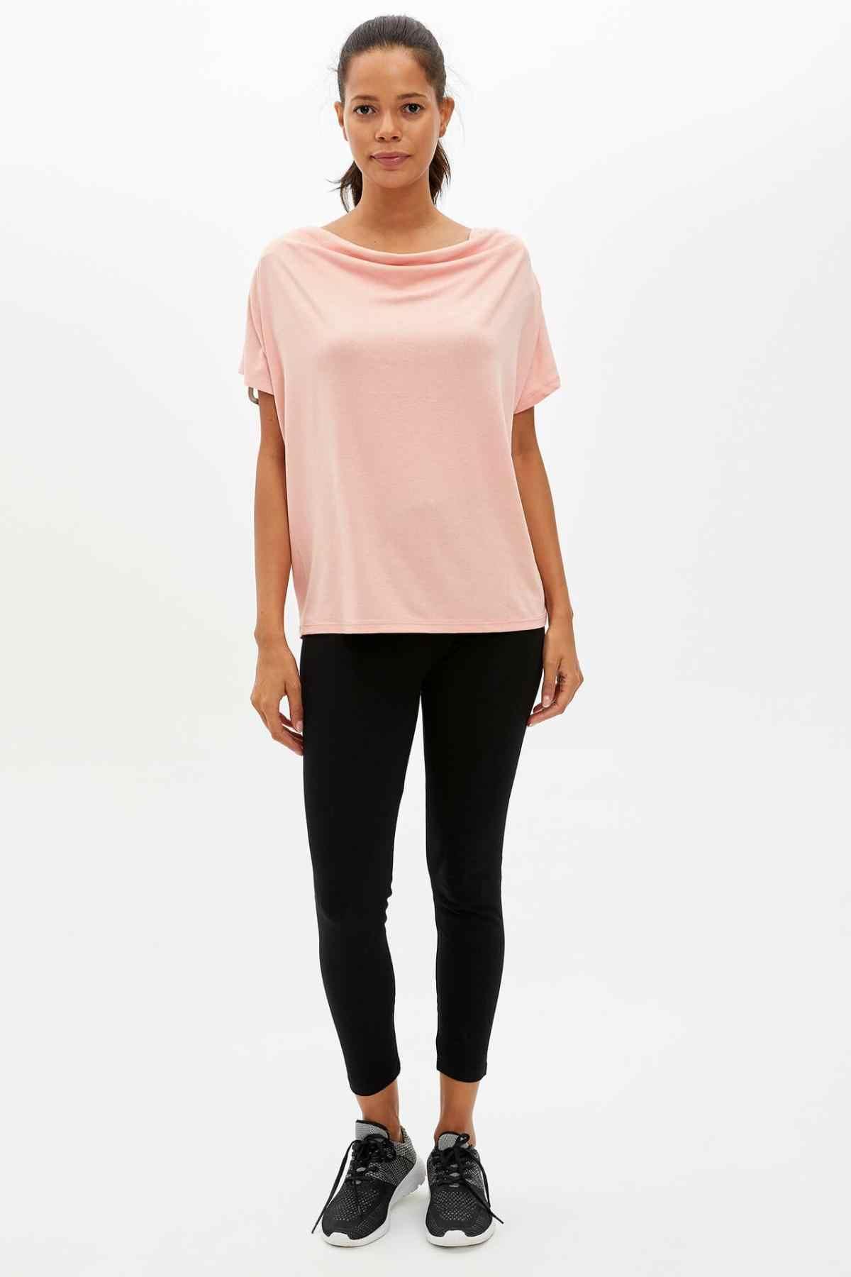 DeFacto Vrouwen Mode Crewneck Tops Vrouwelijke Toevallige Losse Roze Mouw Dames Elegante T-Shirt Zomer Nieuwe-M4311AZ19AU