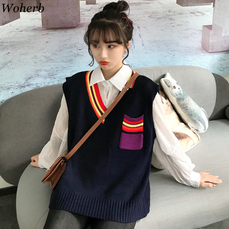 Woherb Korean Style Loose Vest Sweater Women 2020 New Harajuku Waistcoat Rainbow V-neck Sleeveless Pullover Jumper Knitwear