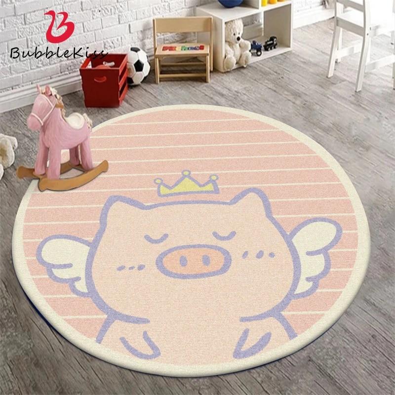 Bubble Kiss Pink Carpet Cute Cartoon Crown Pig Stripes Rug Modern Home Living Room Bedroom Decor Carpet Baby Room Non Slip Rugs Carpet Aliexpress