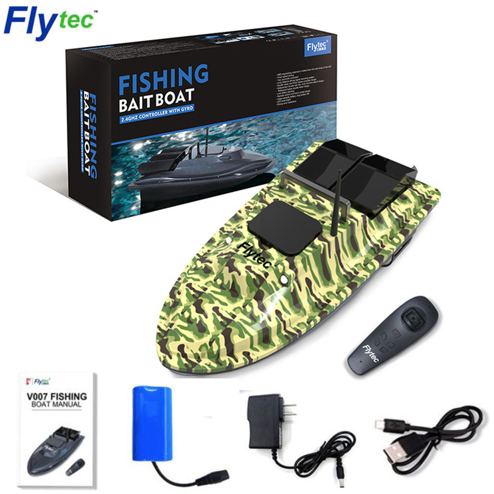 Flytec V007 RC Boat Outdoor Speed Nesting Fixed Cruise Yaw Correction Ship Strong Wind Resistance LED Fishing Boat Searchlight image