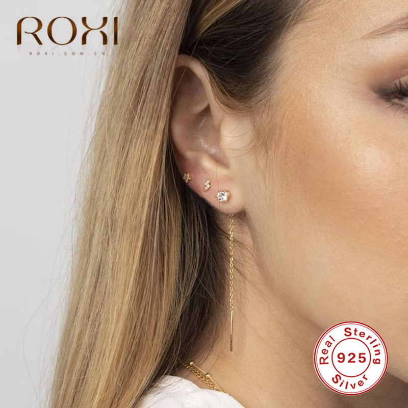ROXI Korean Simple 925 Sterling Silver Long Tassel Ear Line Drop Dangle Earrings for Women Fashion Jewelry Crystal Earings Gifts